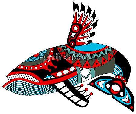whale totem animal tribal haida colorful