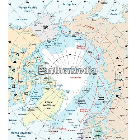 karte der arktis der nordwestpassage und