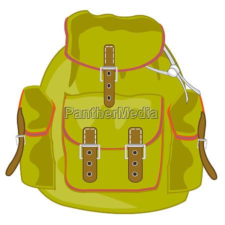 vektorabbildung des touristischen rucksacks mit tasche