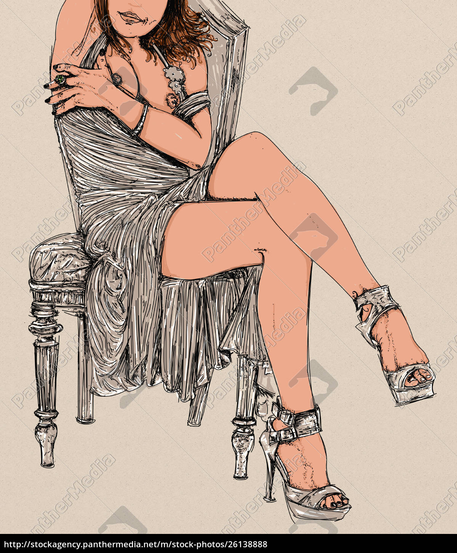 , frau, erotik, raffinierte, und, sinnliche, linie - 26138888