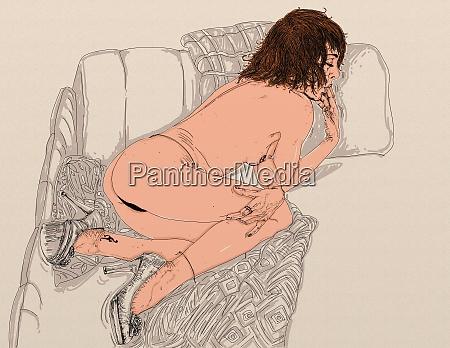 woman, erotic, raffinierte, und, sinnliche, linie, für - 26138902