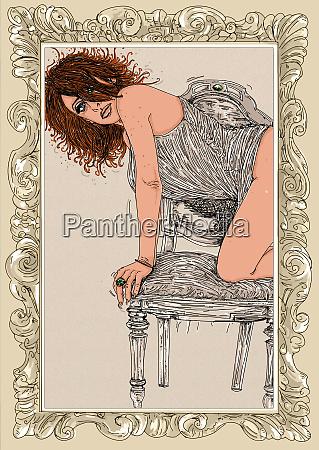 woman, erotic, raffinierte, und, sinnliche, linie, für - 26138908