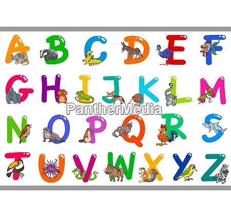 cartoon alphabet with happy animal characters