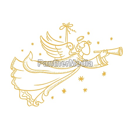 golden isolated angel silhouette hanging on