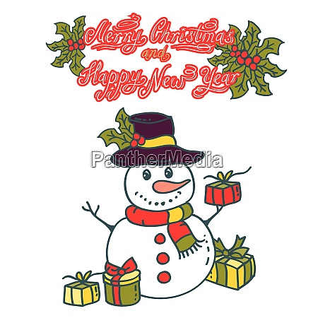 snowman with gifts vector illustration on