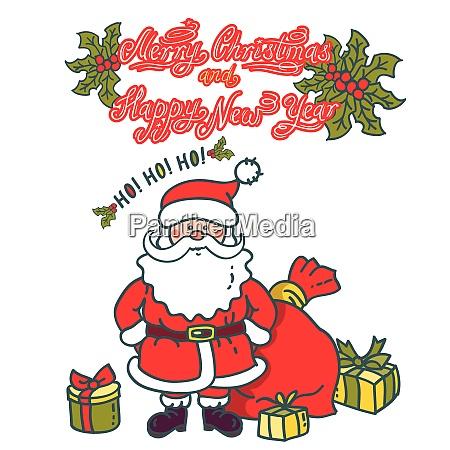 santa claus cartoon character with gifts
