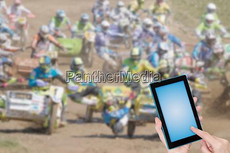 sidecarcross renninfografik konzept