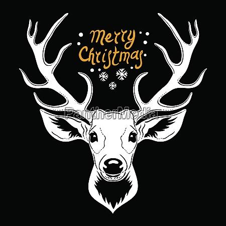 deer head white vector silhouette of
