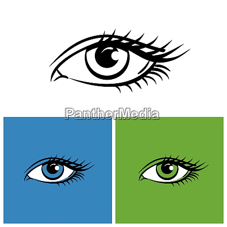 eyes isolated on white bright green