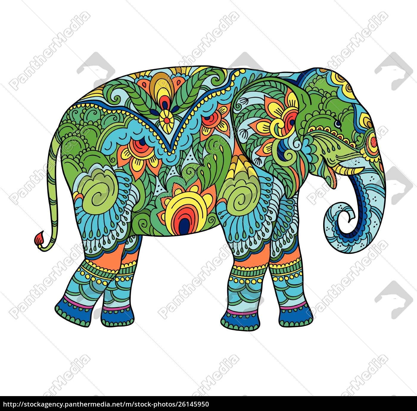 drawing, stylized, elephant., freehand, sketch, for - 26145950