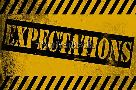erwartungen zeichen zeichen gelb mit streifen