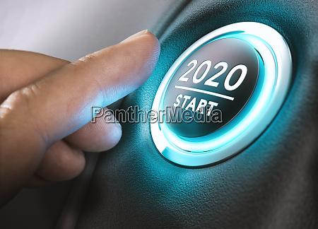 jahr 2020 start zwei undzwanzig konzept