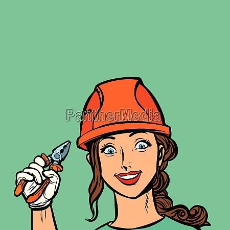 laecheln frau elektriker profi