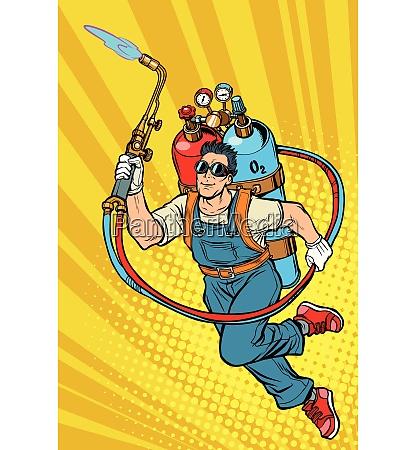 schweisser professioneller arbeiter superheld mit gasflaschen