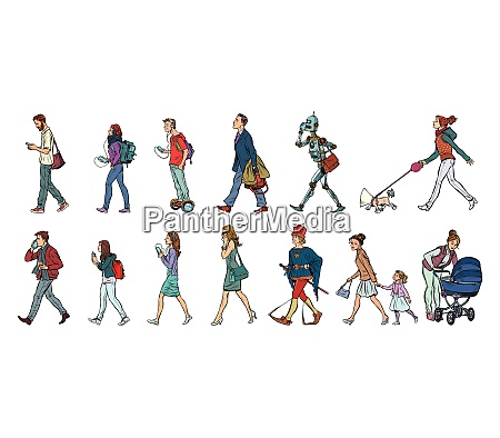 set collection of pedestrians people walk