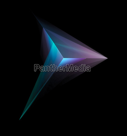 abstract glowing multicolor tetrahedron isolated on