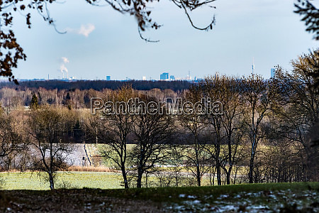 landscape with trees and munich in