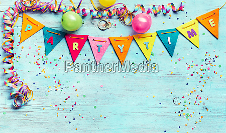 partytime panorama banner with streamers