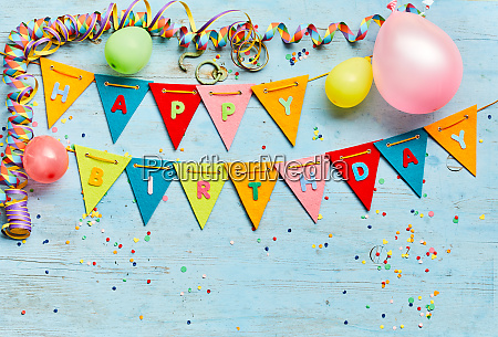 colorful happy birthday background with bunting