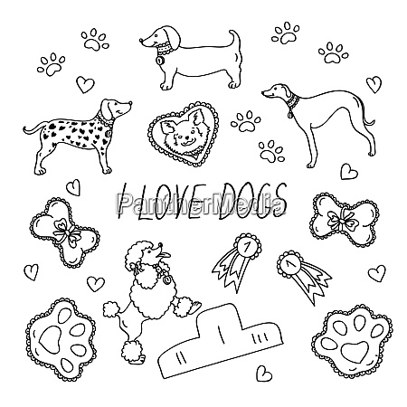 dog breeds set with the inscription