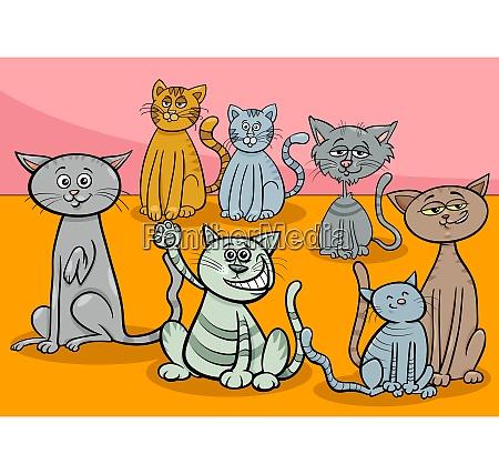 cats group cartoon illustration