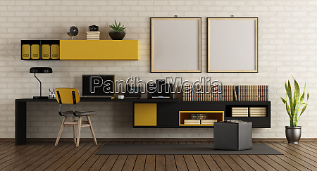 modern home office with black and