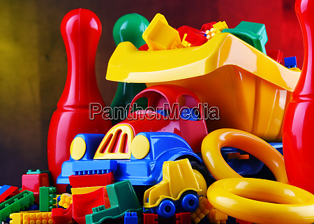 composition with colorful plastic children toys