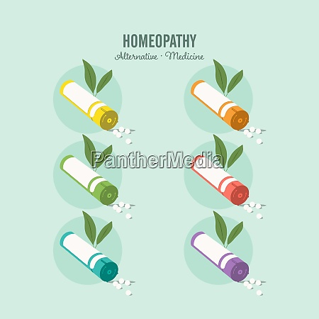 homeopathic medicine set on a green