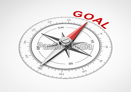 compass on white background goal concept
