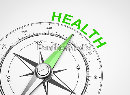 compass on white background health concept