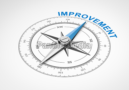 compass on white background improvement concept