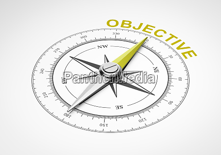 compass on white background objective concept