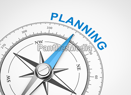 compass on white background planning concept