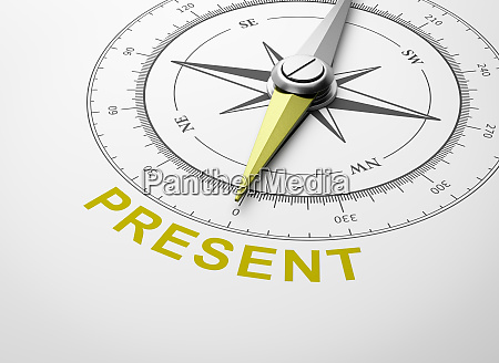 compass on white background present concept