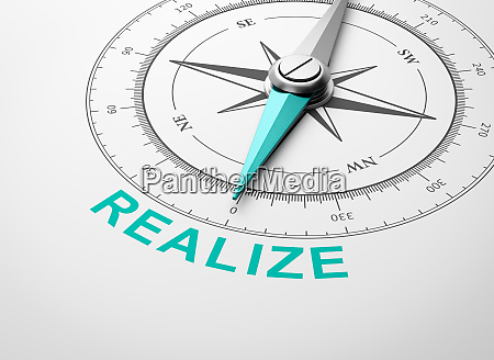 compass on white background realize concept