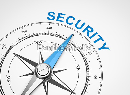 compass on white background security concept