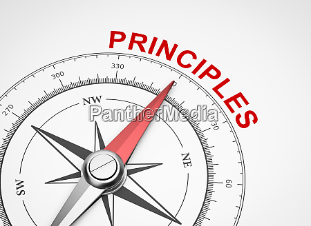 compass on white background principles concept