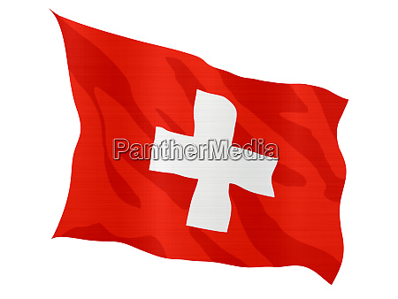 flagge schweiz rot land metallisch winkend