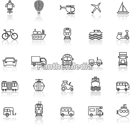 vehicle line icons with reflect on