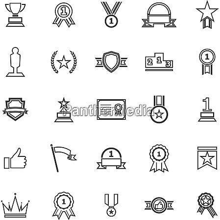 winner line icons on white background