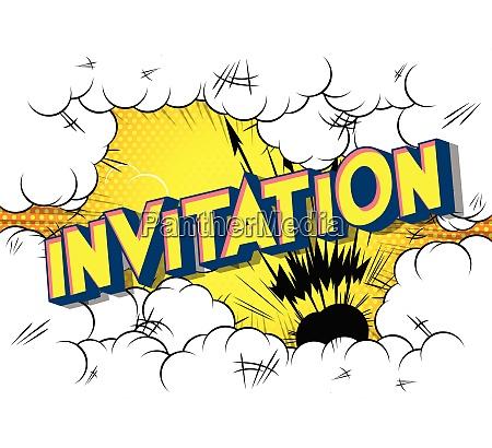 invitation comic book style words