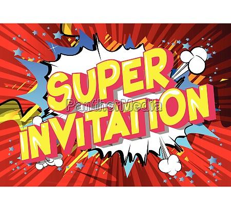 super invitation comic book style