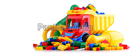 colorful plastic children toys isolated on