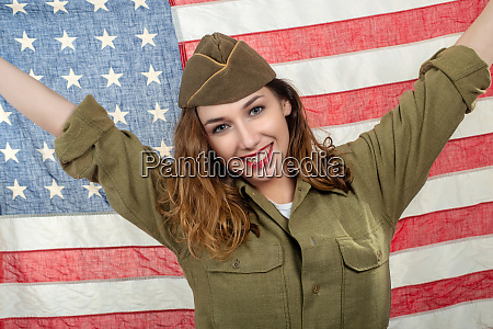 pretty young woman in wwii uniform