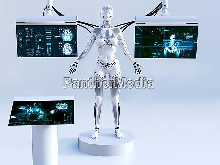 3d rendering von weiblichen robotern die