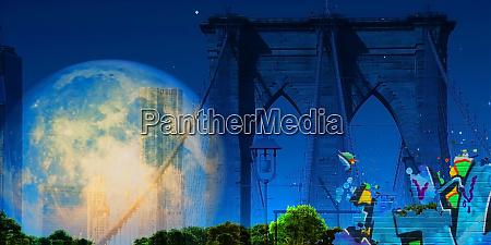 surreale digitale kunst brooklyn bridge auf