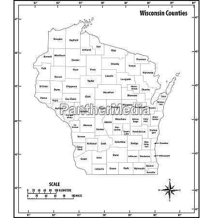 wisconsin state outline administrative and political