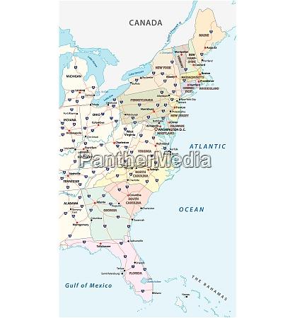 vektorkarte der ostkueste vereinigte staaten von