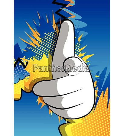 vector cartoon hand pointing at the