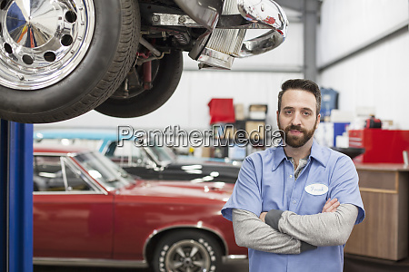 a portrait of a caucasian mechanic